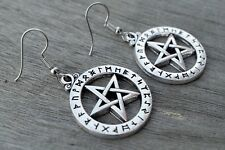 Tibetan silver Pentagram Runic Alphabet Earring  Pagan Wiccan