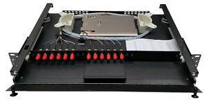 12 Fiber 1RU Rack Mount Loaded w/ 12 ST Adapters, 62.5 Multimode Pigtails & Tray