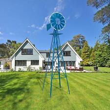 8Ft Tall Windmill Ornamental Wind Wheel Garden Weather Vane Garden Drcor Blue
