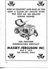 1965 small Print Ad of Massey Ferguson MF 24S Deluxe Farm Tractor Mower