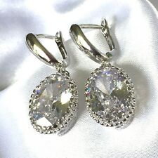 W Oval Diamond White Quartz Silver White Gold Fill Drop Dangle Earrings Plum UK