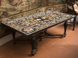 6'x3' Black Marble Outdoor Dining Table Top Marquetry Inlay Furniture Decor E762