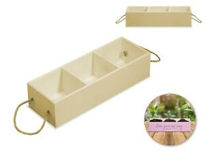"""Unfinished Wood DIY Storage Tray 3-Compartment with Rope Handle 9.65x3.35x2.3"""""""