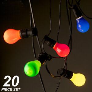 20 Piece Coloured Festoon / Party Light Kit - 20 Metres - big, bold and retro!