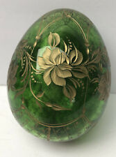 Vtg Faberge Emerald Green Crystal Cut Egg Gold Decorated Russia