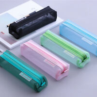 Transparent Student Pen Pencil Case Nylon Mesh Portable Pouch Makeup Bag Storage
