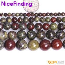 Natural Green Red Dragon Blood Jasper Semi Precious Stone Beads Jewelry Making