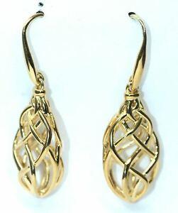 LINKS OF LONDON Sterling Silver Gold Vermeil Woven Drop Earrings RRP150 NEW