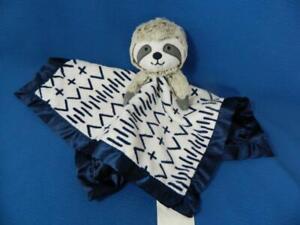 Cloud Island Sloth Lovey Navy Blue White Plush Satin Security Blanket ~ NEW!
