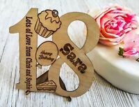 Personalised Wooden Birthday Card - Any Age Unique Engraved Gift Present Him her
