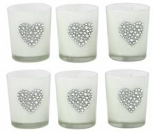 6 x White Diamante HEART Tealight Holder Wedding Gift Home Decor