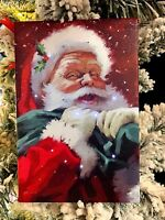 "4x6"" SANTA LIGHTED PRINT ORNAMENT EASEL BACK 3739436 RAZ Christmas PICTURE MinT!"