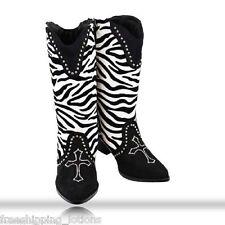 WESTERN COWGIRL ZEBRA PRINT RHINESTONE CROSS WOMENS DRESS BOOTS BLACK SIZE 8