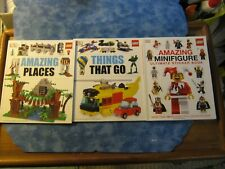 LOT OF 3 DK LEGO BOOKS SC Things That Go AMAZING MINIFIGURE Amazing Places