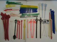 80 Vintage Swizzle Sticks - Space Needle Flamingo Jack Par Hilton Black Velvet++