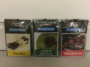 3 Scented Fragrance Sachets Wardrobe Cupboard Drawer Freshener Assorted Free P&P