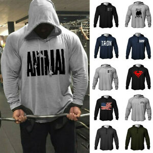 Men Fitness Athletics Muscle GYM Bodybuilding Workout Raglan Hoodies Sweatshirts