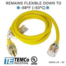 Temco 10ft Cold Weather Generator Cord Yellow Nema L14 30 125250v 30a Ul