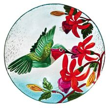 """Hummingbird Bird Bath 18"""" Glass Bowl Outdoor Garden Decor"""