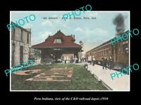 OLD LARGE HISTORIC PHOTO OF PERU INDIANA, THE C&O RAILROAD STATION c1910
