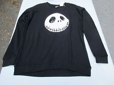 Medium Disney Sequin Jack Skellington Long Sleeve Black Tee Shirt Top
