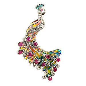 Heated Pear Ruby 4x3mm Marcasite 925 Sterling Silver Peacock Pendant And Brooch