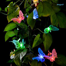 20 Led Fiber Optic Butterfly Solar String Light Colorful Xmas Party Decor Lights