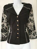 Womens Joseph Ribkoff Black Floral Netted Formal Evening Lightweight Jacket 10.
