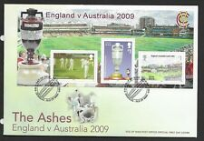 GB Isle of Man 2009 FDC  IOM Cricket The ashes MINISHEET fine used stamps