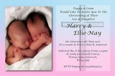 30 Personalised Twins Christening Day ~Naming Day~Baptism Day Invitations N