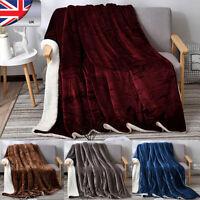 "Premium Sherpa Throw Blanket by Pavilia 80""x 60"" Reversible Microfiber Fleece UK"