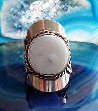 Anello alpaca argento pietre agata bianco etnico INDIANA INCA MAYA STILE 1