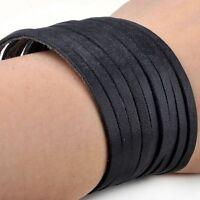 1 Pc Black Fashion Punk Multi-layer PU Leather Cuff Bracelet Wristband for Men