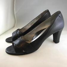 cda562cdb0c TARYN ROSE  165 Black Leather Strap Open Toe Heel Pump Sz EU 40 US 10