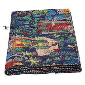 Vintage Handmade Queen Size Kantha Blanket Blue Cotton Quilt Indian Bedspread