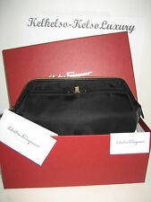 $280 NEW Salvatore Ferragamo Vera Bow Black Toiletry Makeup Bag Cosmetic Case BX