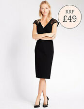 NEW M&S * Black Lace insert  Dress * cap sleeve * SIZE 8 10 12 14 20 22