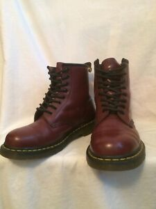 GENUINE DR MARTENS 1460 8 EYE LACE UP RED OXBLOOD LEATHER BOOTS UK8 EU42 US 9