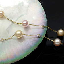 Lustrous 8mm Multicolor Real Freshwater Pearl Necklace 18K Yellow Gold Chain 16""
