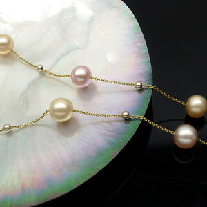 """Lustrous 8mm Multicolor Real Freshwater Pearl Necklace 14K Yellow Gold Chain 16"""""""