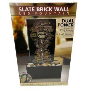 Newport LED Fountain Slate Brick Wall River Rocks Indoor Water Fountain