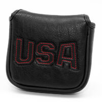 Patriotic Mallet Putter Cover Headcover,Square Mallet Head Cover Magnetic Black
