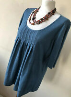 Poetry Size 10 Petrol Scoop Neck Pleated Front Short Sleeved Top 100% Linen