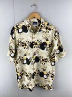 Puritan Men's Vintage Short Sleeve Hawaiian Shirt - Brown - Size Medium
