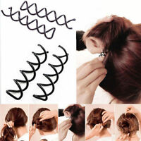 10x Spiral Spin Screw Bobby Pin Hair Clip Twist Barrette Hairpins BlackColour_PY