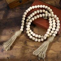 Wood Bead Garland W/Tassels Rustic Country Wood Beads Decor Farmhouse Decor