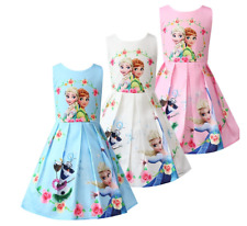 Girls Skater Dress Kids Frozen Anna Elsa Print Casual Party Birthday Dresses L19