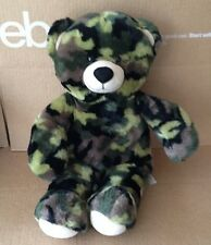 "Build A Bear Green Camo Bear Plush 16"" Stuffed Animal"