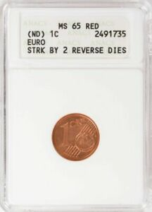ND 1 CENT EURO  * STRUCK BY TWO REVERSE DIES - ANACS MS65 RED  *