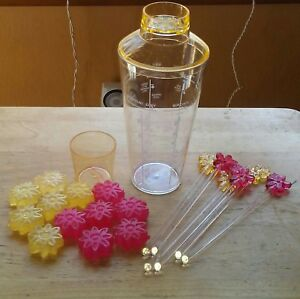 Snail Cocktail Shaker Drink Mixer 6 Stirrers 12 Flower Ice Cubes Plastic Unused